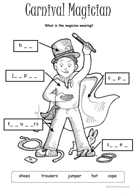 Carnival Magician Worksheet  Free Esl Printable