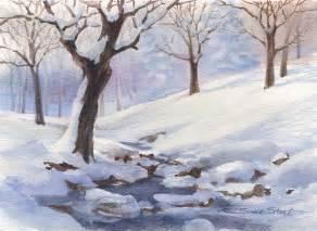 Watercolor Painting Winter Scene