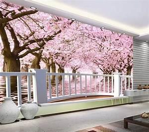 Papier Peint Espace : papier peint photo trompe l 39 il effet 3d paysage romantique avec les cerisiers extension d ~ Preciouscoupons.com Idées de Décoration