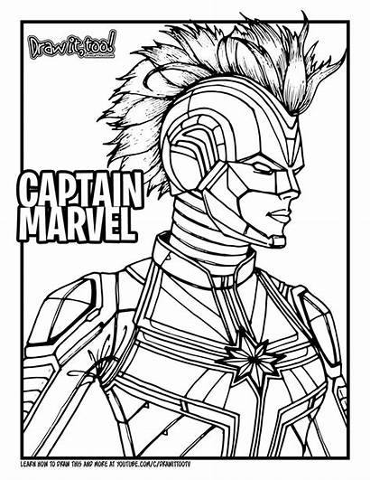 Marvel Coloring Captain Draw Pages Too Drawing