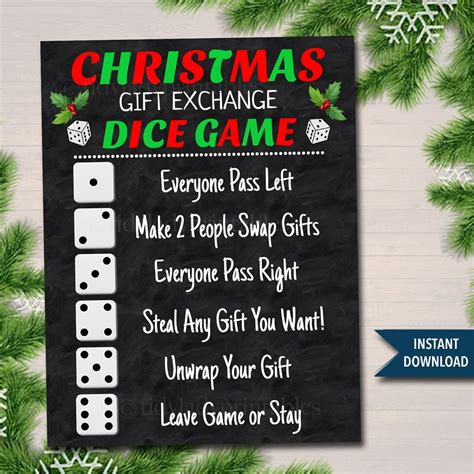 christmas dice game gift exchange rules printable instant