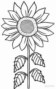 Sunflower Flower Coloring Pages Printable Sketch Coloring