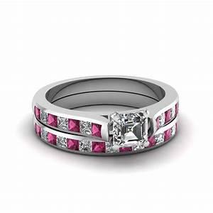 asscher cut channel set diamond wedding ring sets with With pink diamond wedding ring set