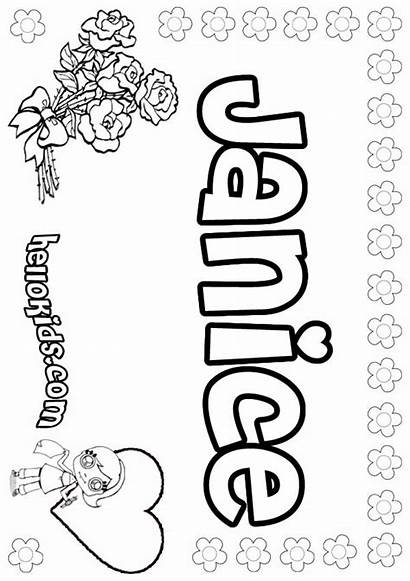 Janice Coloring Pages Hellokids Names Letter