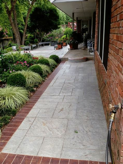 brick and concrete walkway brick sidewalk sted concrete sidewalk with brick border in oklahoma city design ideas