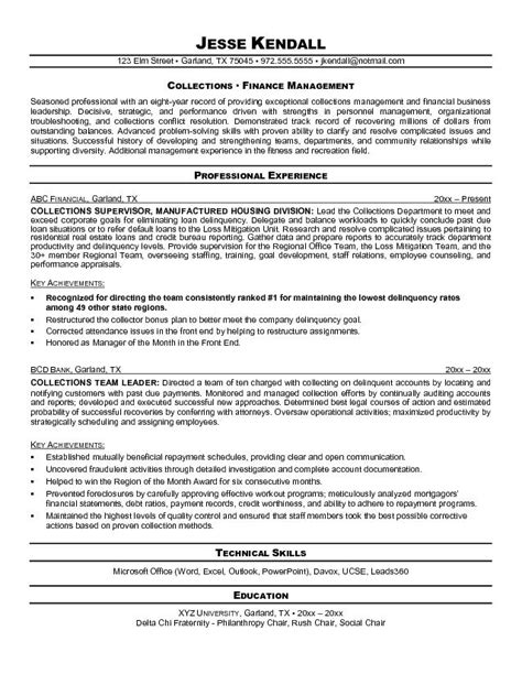 Credit And Collections Supervisor Resume by Exle Collections Supervisor Resume Free Sle