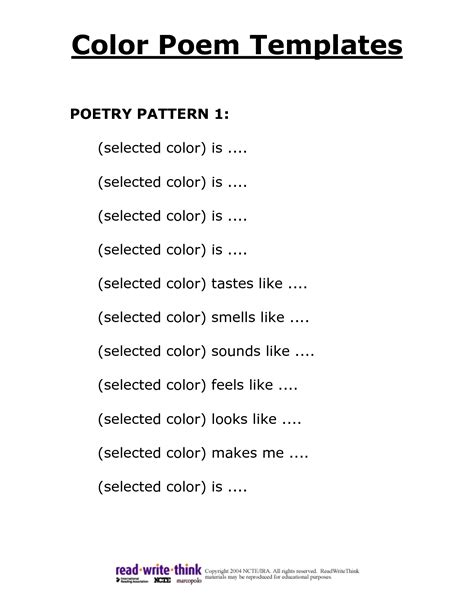 poem templates 7 best images of poetry templates printable blank