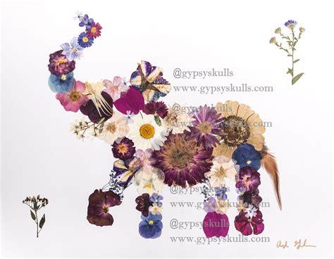 Gypsyskulls Modern Pressed Flower Art Elephant