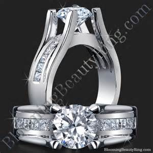 yellow engagement rings wide band floating diamond with invisible channel set