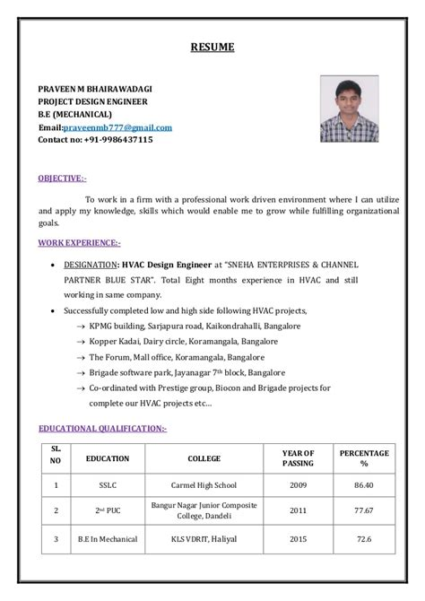 Be Mechanical Resume by Praveen Resume Be Mechanical