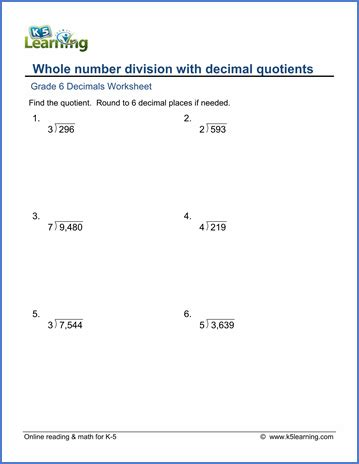 division with decimal quotients worksheets grade 6 math worksheet decimals whole number division with decimal quotients k5 learning