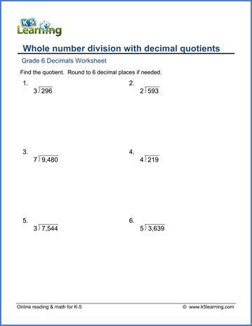 grade  math worksheet decimals  number division