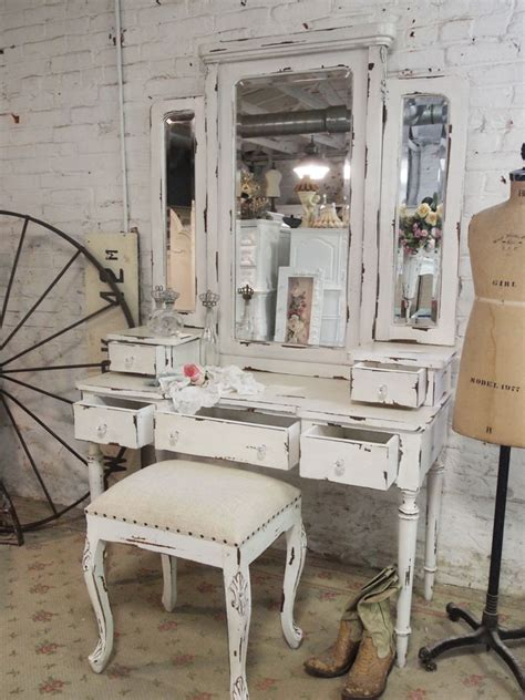 shabby chic vanity stool painted cottage chic shabby romantic vanity and stool van64 1 095 00 the painted cottage