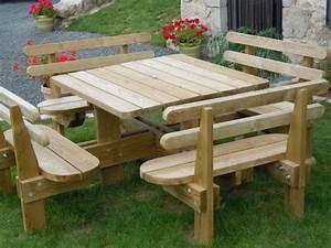 revgercom table bois exterieur avec banc idee With banc en teck pour jardin 14 table pique nique avec bancs en teck massif et pieds en