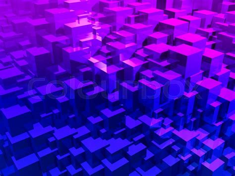 Abstract Purple Cubes. 3d Illustration. Colorful Creative
