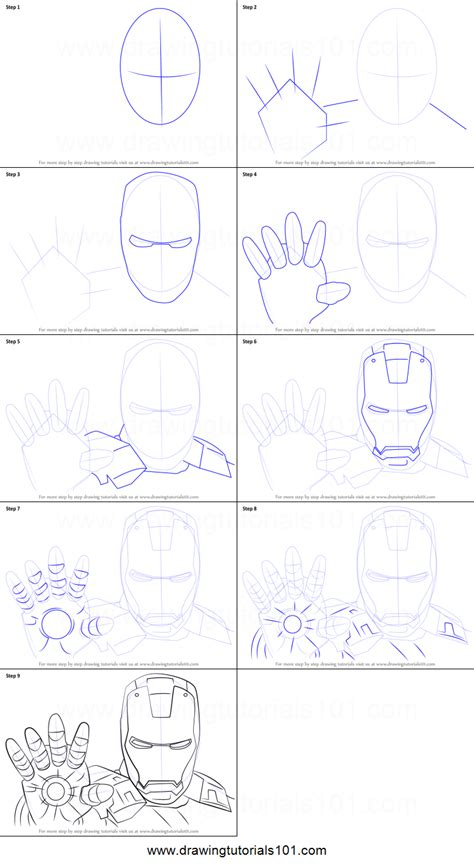 draw iron man face printable step  step drawing