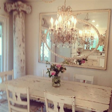 shabby chic dining room mirror rustic and romantic dining space great architectural elements alongside elegant chandelier and