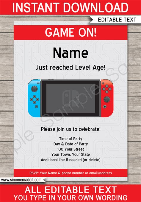 nintendo switch party printables invitations