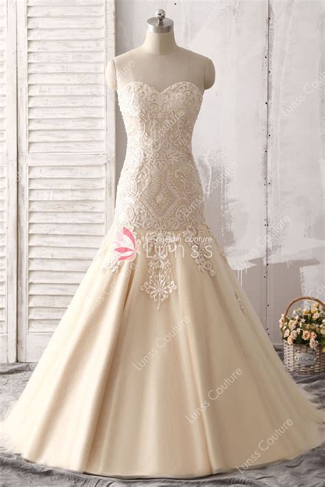 Luxury Strapless Sweetheart Champagne Trumpet Lace Tulle