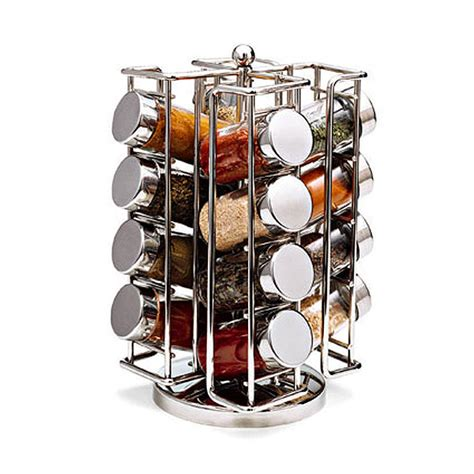 designer spice rack chrome spinning spice rack the container store