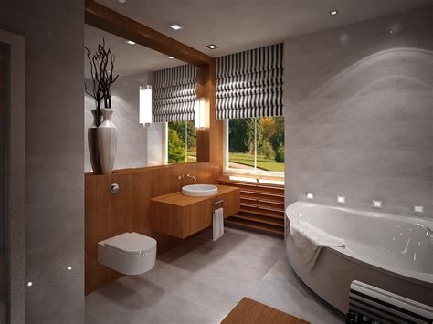 modern small bathroom designs with corner bathtub and