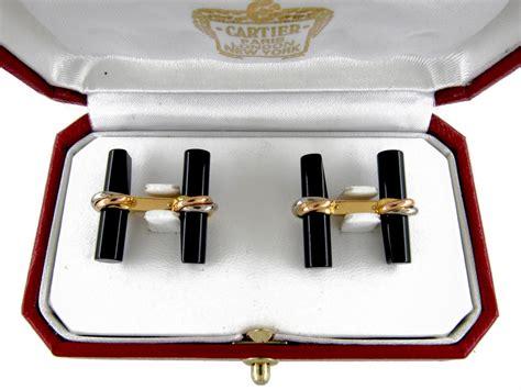 Gold & Onyx Baton Bar Cufflinks By Cartier  The Antique