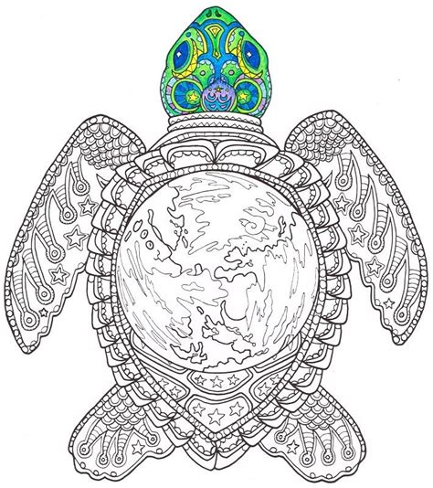 adult coloring page world turtle printable coloring page