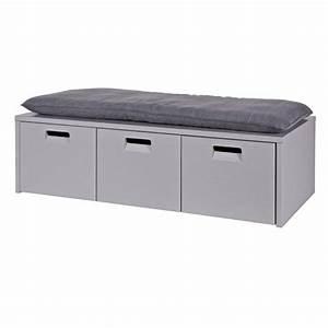 Banc Coffre Pour Entrée : banc en pin gris coffre de rangement 3 tiroirs arthur ~ Dailycaller-alerts.com Idées de Décoration