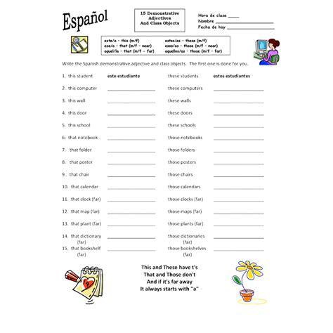demonstrative adjectives worksheet worksheets for