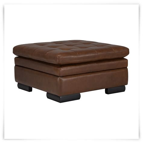 brown leather ottoman trevor md brown leather storage ottoman