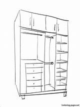 Closet Coloring 1coloring Furniture Larger Credit sketch template