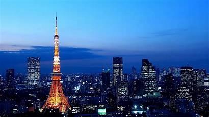 Tokyo Japan Tower Skyline Lights Anime 4k