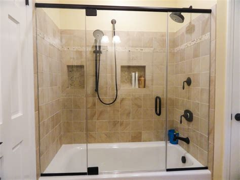 inline tub shower glass  oil rubbed bronze delux