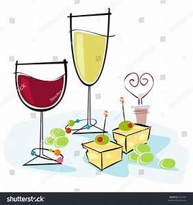Retrostylized Cocktail Spot Illustration Wine Cheese Stock ...