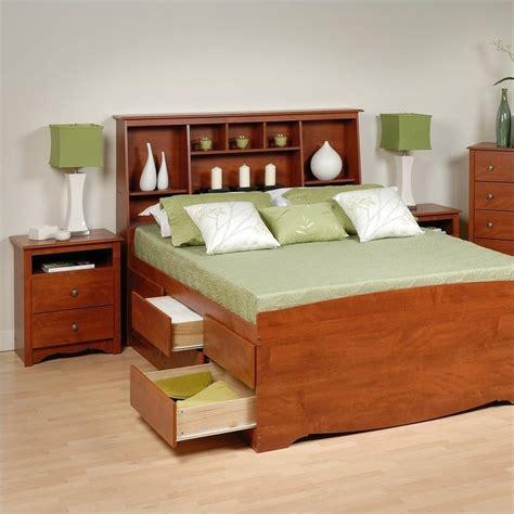 cherry queen wood platform storage bed  piece bedroom set