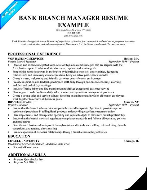 bank branch manager resume free sles exles