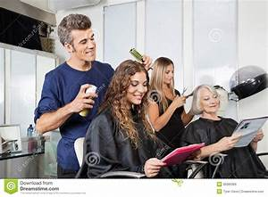 Hairdressers Setting Up Client's Hair In Salon Stock Image ...