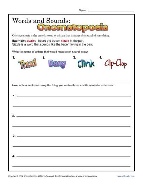 onomatopoeia exles definition and worksheets kidskonnect onomatopoeia worksheets for 2nd grade breadandhearth