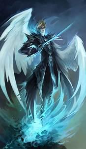 angel wings - armor - blonde hair - blue - blue eyes