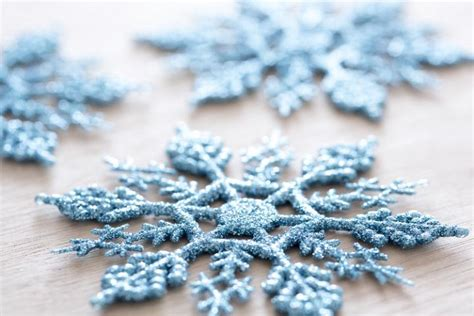 photo  close   blue decorative snowflakes