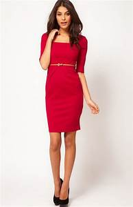 classy red dress red square neck half sleeve bodycon With robes droites classiques