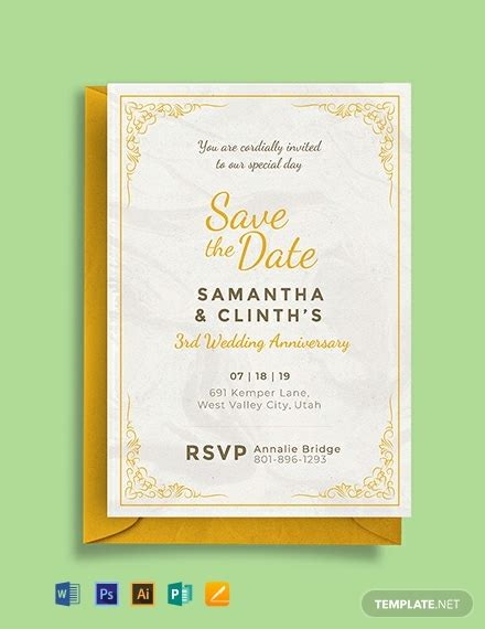 anniversary invitation card template word