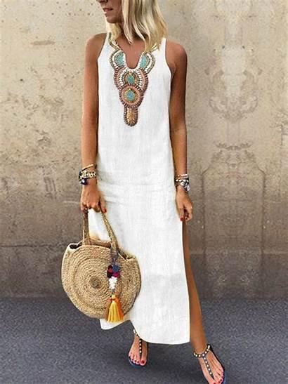 Casual Split Dresses Side Neck Cotton Maxi