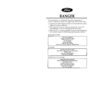 ford ranger owners manual   pages