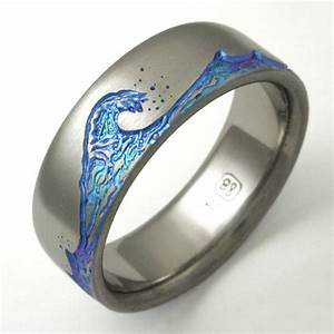 titanium paradise titanium wedding rings handcrafted by With men s wave wedding ring