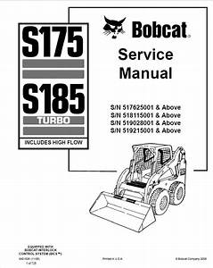 Bobcat S175  S185 Turbo Loader Service Manual Pdf Download