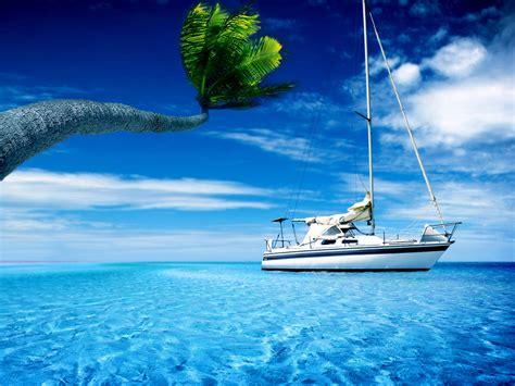 壁紙 ボート、海、水、ヤシの木、暑い夏の空 2560x1600 Hd 無料のデスクトップの背景, 画像