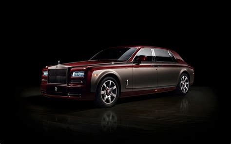 Burgundy Rolls Royce Phantom On Dark Background Wallpapers