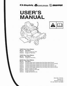 Snapper 5900608 User Manual Hydro Drive Ztr 350z  400z
