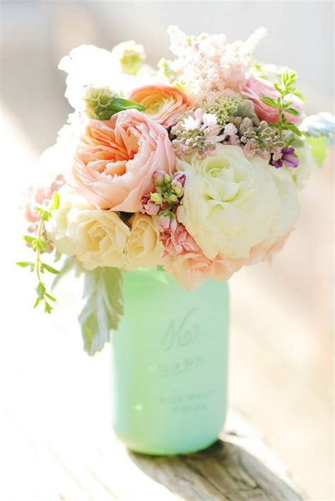 flowers in jars painted mason jar with spring flowers love these colors blush toned flowers pinterest